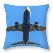 Blue Airplane Takeing Off Throw Pillow