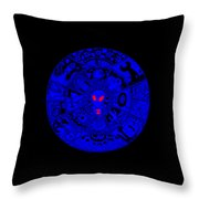 Blue Alien Mandala Throw Pillow