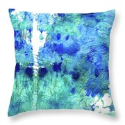 Blue And Aqua Abstract - Wishing Well - Sharon Cummings Throw Pillow