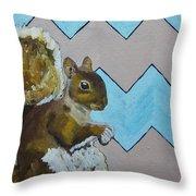 Blue And Beige Chevron Squirrel Throw Pillow