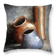 Blue And Brown Pots Throw Pillow