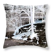 Blue And Brown Trees Throw Pillow