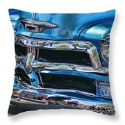 Blue And Chrome Chevy Pickup Front End Throw Pillow
