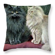 Blue And Cream Persians Throw Pillow