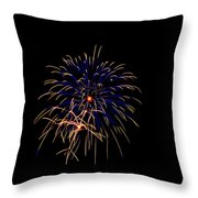 Blue And Gold Fireworks Throw Pillow