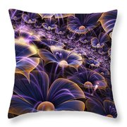 Blue And Gold Fractal Flowers Throw Pillow