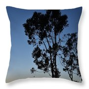 Blue And Gold Sunset Tree Silhouette I Throw Pillow