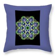 Blue And Green Flower Mandala Throw Pillow