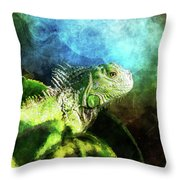 Blue And Green Iguana Profile Throw Pillow