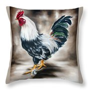 Blue And Green Rooster Throw Pillow