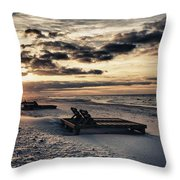 Blue And Orange Sunrise On The Beach Throw Pillow