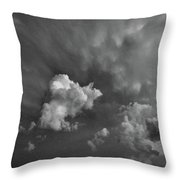 Blue And Pink Clouds In Black And White  Throw Pillow