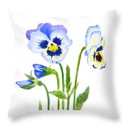 Blue And Purple Pansies  Throw Pillow