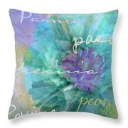 Blue And Purple Peony Throw Pillow
