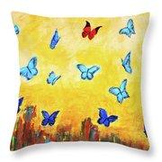 Blue And Red Butterflies Throw Pillow