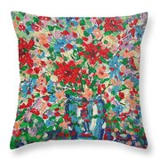 Blue And Red Flowers. Throw Pillow