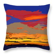 Blue And Red Ocean Sunset Throw Pillow