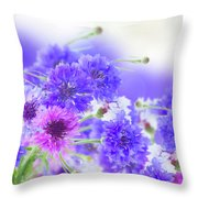 Blue And Violet Cornflowers Throw Pillow