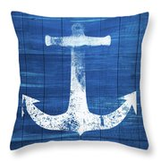 Blue And White Anchor- Art By Linda Woods Throw Pillow