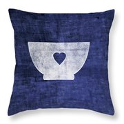 Blue And White Bowl- Art By Linda Woods Throw Pillow