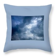 Blue And White Cloud Formations Throw Pillow