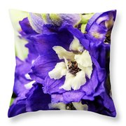 Blue And White Delphiniums Throw Pillow