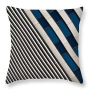 Blue And White Diagonals Throw Pillow
