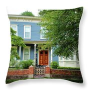 Blue And White House Throw Pillow