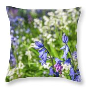 Blue And White Hyacinth Flowers Throw Pillow