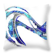 Blue And White Painting - Wave 2 - Sharon Cummings Throw Pillow