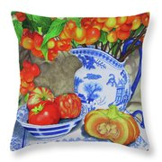 Blue And White Porcelain With Cherries Throw Pillow