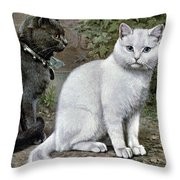 Blue And White Short Haired Cats Throw Pillow
