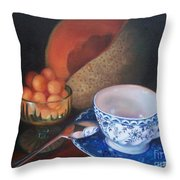 Blue And White Teacup And Melon Throw Pillow