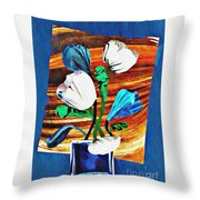 Blue And White Tulips Throw Pillow