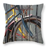 Blue And Yellow Bikes Throw Pillow