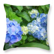 Blue And Yellow Hortensia Flowers Throw Pillow
