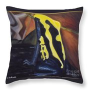 Blue And Yellow Poison Dart Frog Throw Pillow