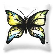 Blue And Yellow Watercolor Butterfly Throw Pillow