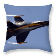 Blue Angel 4 Pulling A Vapor Trail Into The Empty Air... Throw Pillow