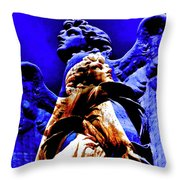 Blue Angel Wings Throw Pillow