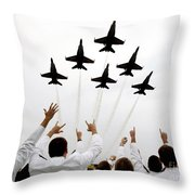 Blue Angels Fly Over The Usna Graduation Ceremony Throw Pillow