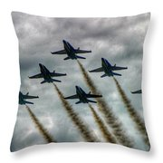 Blue Angels In Formation Throw Pillow