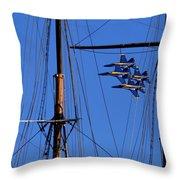 Blue Angels Pass Behind Masts Of The Balclutha At Hyde Street Pier Throw Pillow