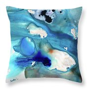 Blue Art - The Meaning Of Life - Sharon Cummings Throw Pillow