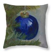 Blue Ball On Christmas Tree Throw Pillow