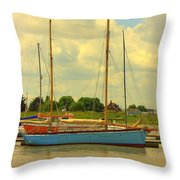 Blue Barge Throw Pillow