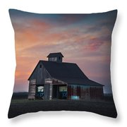 Blue Barn Throw Pillow