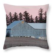 Blue Barn Throw Pillow