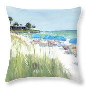 Blue Beach Umbrellas, Crescent Beach, Siesta Key - Wide Throw Pillow