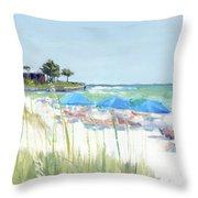 Blue Beach Umbrellas On Point Of Rocks, Crescent Beach, Siesta Key Wide-narrow Throw Pillow
